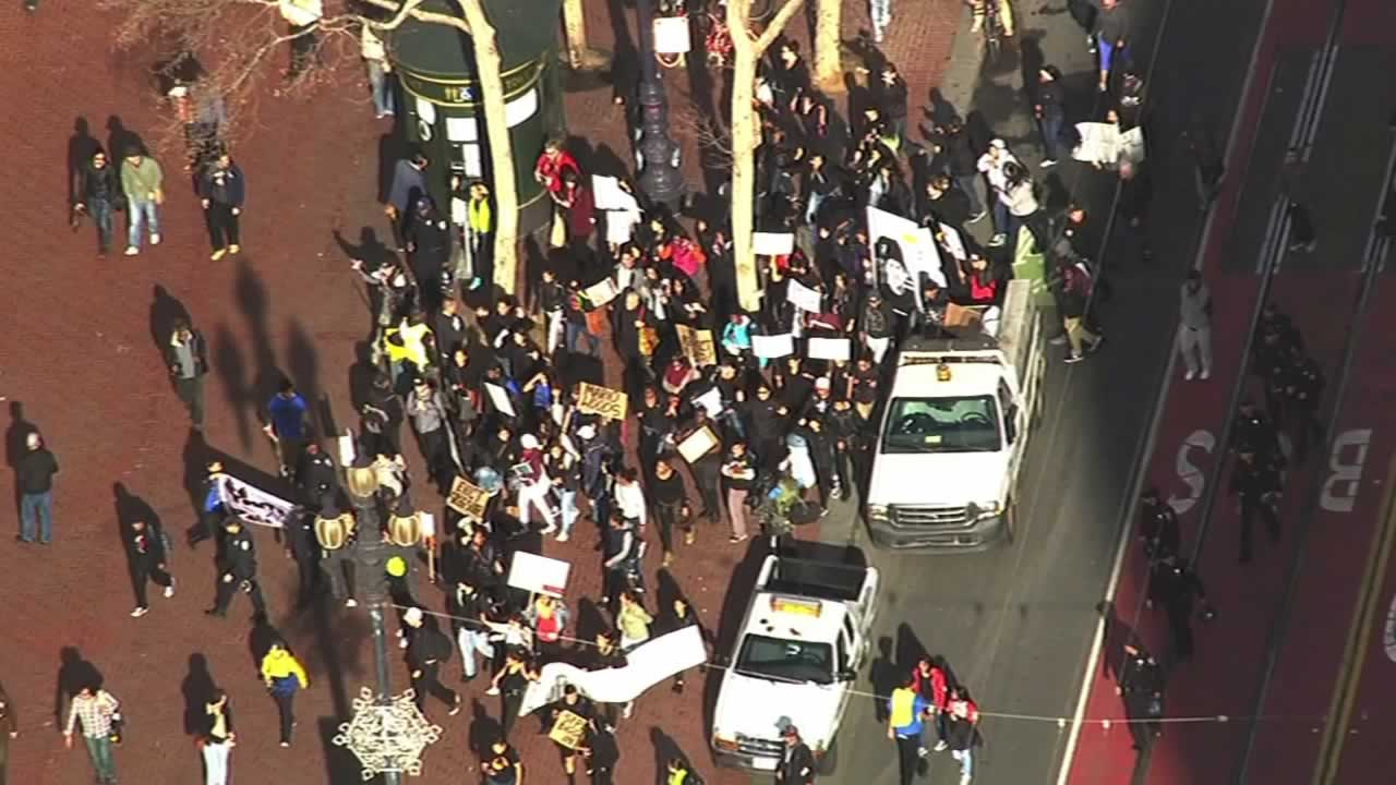 """<div class=""""meta image-caption""""><div class=""""origin-logo origin-image none""""><span>none</span></div><span class=""""caption-text"""">Demonstrators protesting the  shooting death of Mario Woods by multiple officers marched through downtown San Francisco on Friday, December 11, 2015. (KGO-TV)</span></div>"""