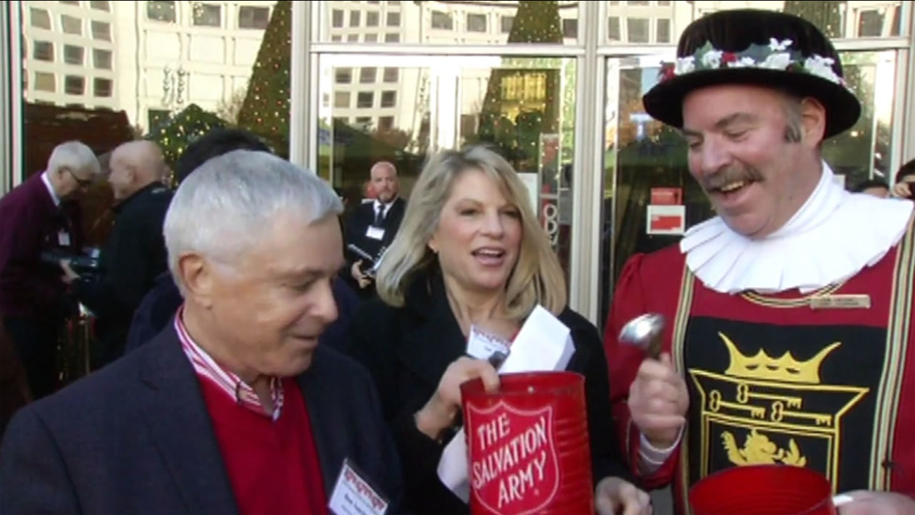 Retired entertainment reporter Don Sanchez and ABC7 News traffic reporter Sue Hall took part in the 35th annual celebrity bell ringing at Union Square Dec. 11, 2015.