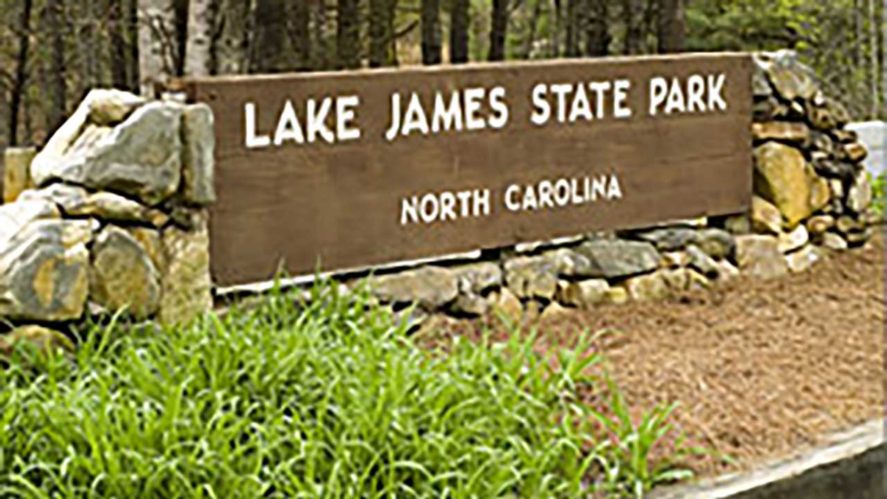 Entrance sign for Lake James State Park
