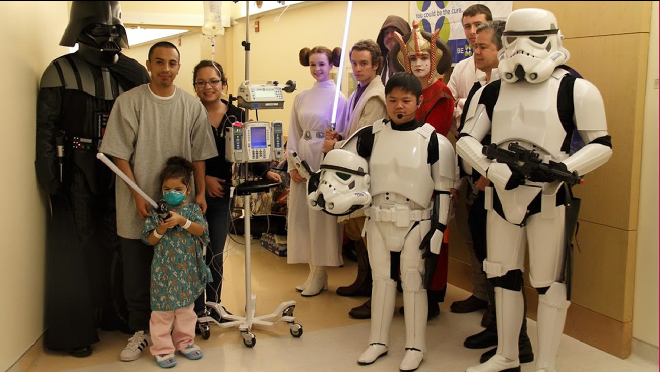 Ryan Tam, in the storm trooper outfit, is a leukemia survivor. Every year, he makes it to the Lucille Packard Children's Hospital at Stanford to entertain patients.