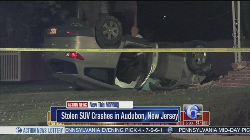 VIDEO: Stolen SUV crashes in Audubon, NJ
