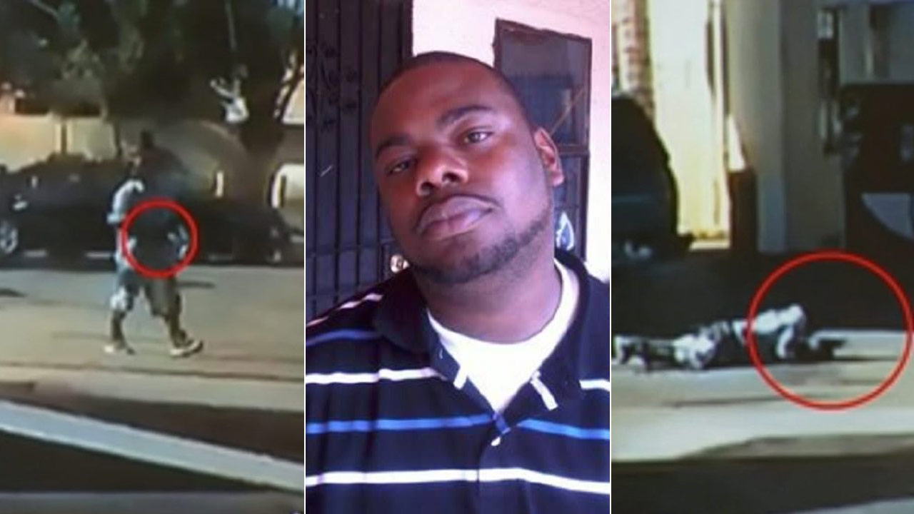 The L.A. County Sheriff's Department released two still images, far right and left, of Nicholas Robertson, center, before deputies shot and killed him Saturday, Dec. 12, 2015.