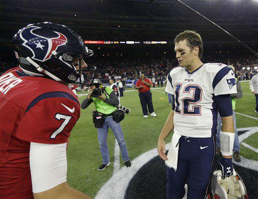 """<div class=""""meta image-caption""""><div class=""""origin-logo origin-image none""""><span>none</span></div><span class=""""caption-text"""">Houston Texans quarterback Brian Hoyer (7) and New England Patriots quarterback Tom Brady (12) greet before the game. (AP Photo/ David J. Phillip)</span></div>"""
