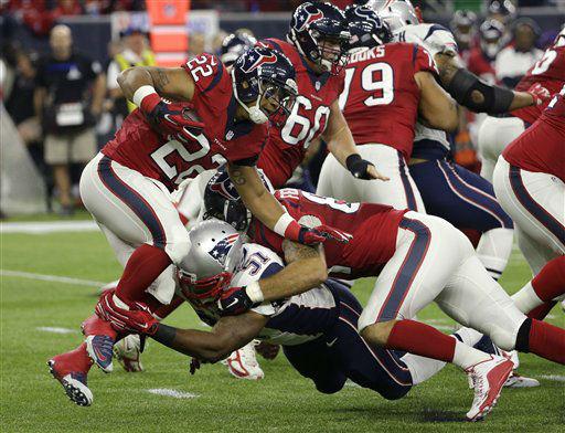 "<div class=""meta image-caption""><div class=""origin-logo origin-image none""><span>none</span></div><span class=""caption-text"">Houston Texans running back Chris Polk (22) is hit in the backfield by New England Patriots middle linebacker Jerod Mayo (51) (AP Photo/ David J. Phillip)</span></div>"