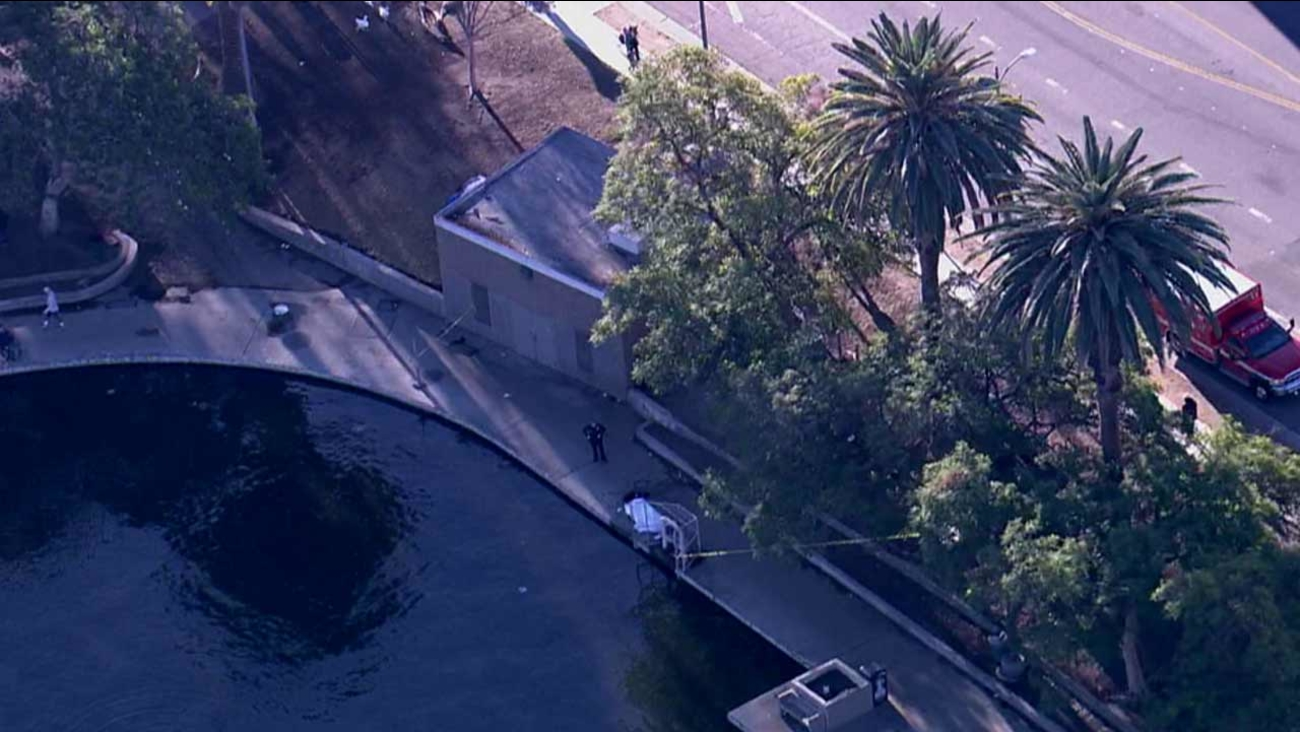 A body was recovered from MacArthur Park Lake in the 2000 block of W. 7th Street in Westlake on Monday, Dec. 14, 2015.