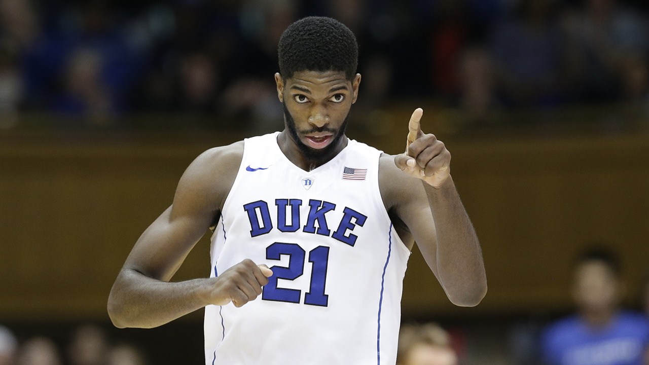 Duke's Amile Jefferson (21) reacts following a basket against Yale during the second half of an NCAA college basketball game in Durham, N.C., Wednesday, Nov. 25, 2015.