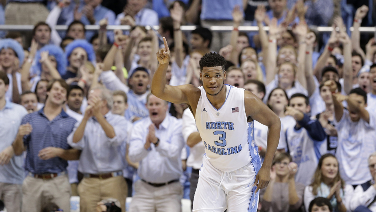 North Carolina's Kennedy Meeks (3) reacts following a basket against Maryland during the second half of an NCAA college basketball game in Chapel Hill, N.C., Tuesday, Dec. 1, 2015.