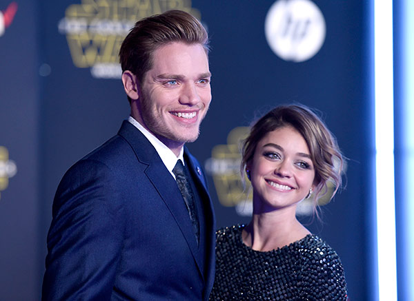"<div class=""meta image-caption""><div class=""origin-logo origin-image ap""><span>AP</span></div><span class=""caption-text"">Dominic Sherwood, left, and Sarah Hyland arrive at the world premiere of 'Star Wars: The Force Awakens' at the TCL Chinese Theatre on Monday, Dec. 14, 2015, in Los Angeles. (Photo by Jordan Strauss/Invision)</span></div>"