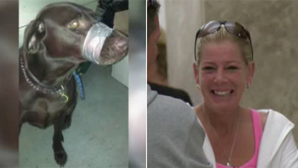 Woman charged with taping dog's mouth appears in court