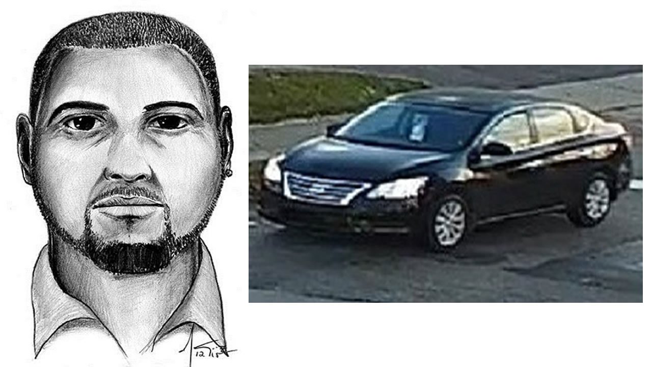 A composite sketch of the suspect and a picture of the car he was driving.