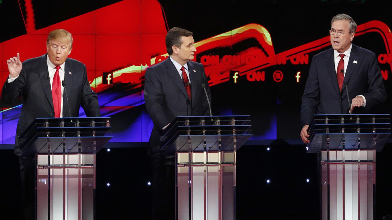 Donald Trump, Ted Cruz, and Jeb Bush are seen during the CNN Republican presidential debate at the Venetian Hotel & Casino on Dec. 15, 2015, in Las Vegas. (AP Photo/John Locher)