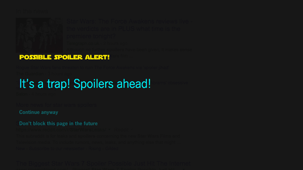 Stop all 'Star Wars' spoilers with 'Force Block' Google