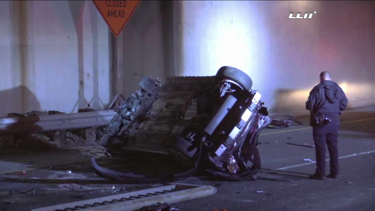 A motorist was killed after he drove off a 710 Freeway off ramp and slammed into a big rig in Long Beach on Wednesday, Dec. 16, 2015.