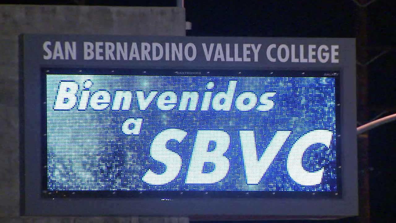 A sign is seen outside San Bernardino Valley College in this undated file photo.