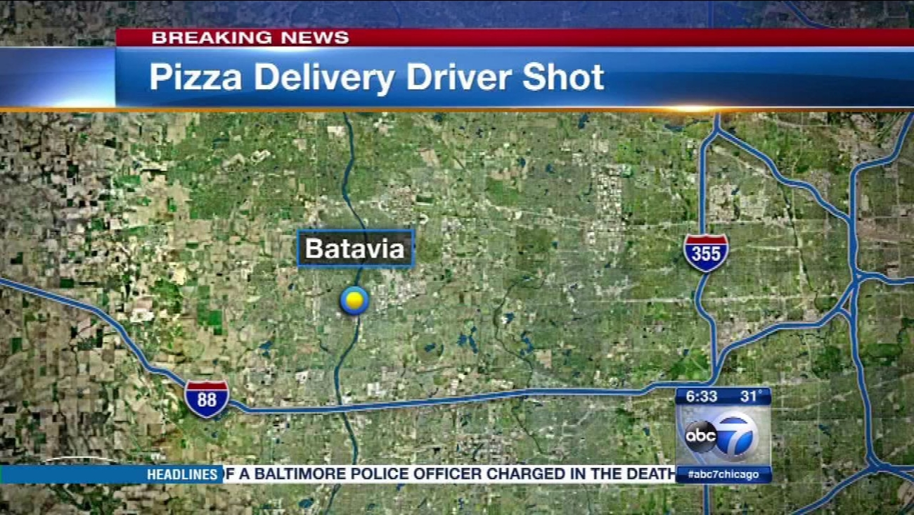 A pizza delivery driver said he was shot and robbed after delivering an order to a home in west suburban Batavia.