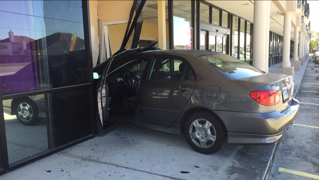 A car crashed into a building this morning on Houston's north side