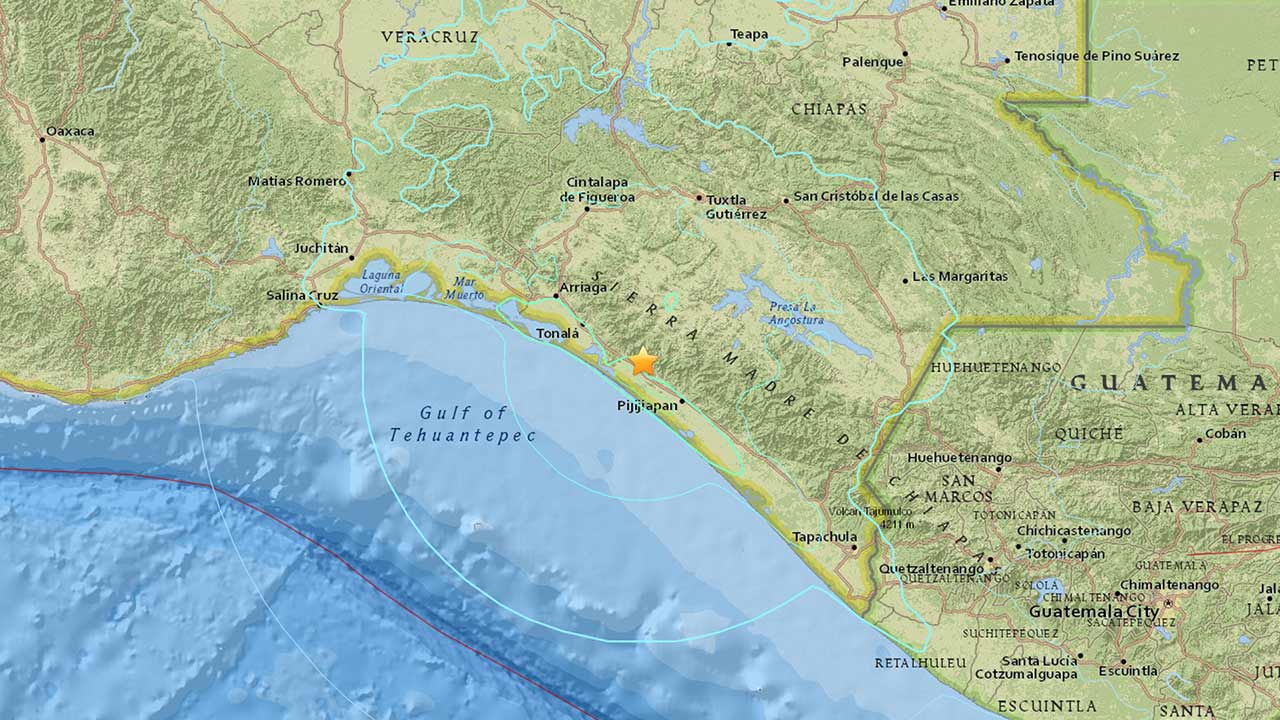A 6.4-earthquake struck 7 miles east-northeast of Tres Picos, Mexico on Thursday, Dec. 17, 2015.
