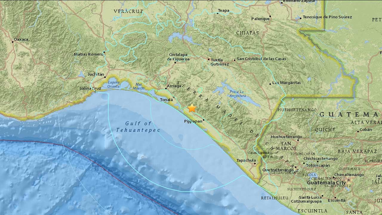 A 6.4-earthquake struck 7 miles east-northeast of Tres Picos, Mexico on Thursday, Dec. 17, 2015.
