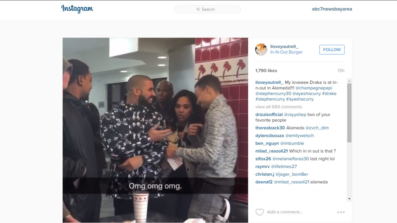 Warriors star Steph Curry, his wife Ayesha, and rap star Drake were spotted at the In-N-Out Burger in Alameda, Calif. on Wednesday, December 16, 2015.