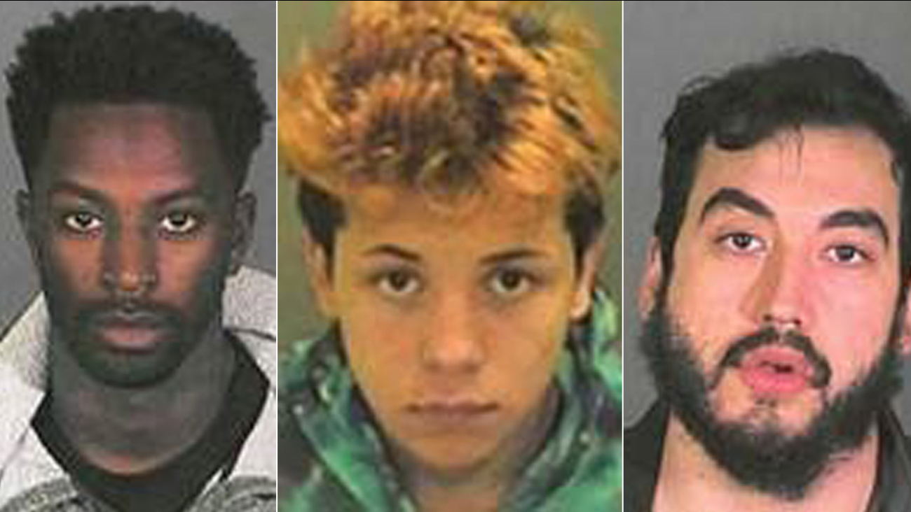 Steven Fernandez, center, is shown in a mugshot alongside Keelan Lamar Dadd, left, and Jose Barajas, right.