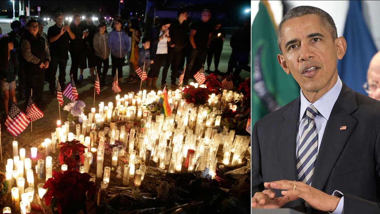 Makeshift memorial site honoring San Bernardino terror attack victims (left). President Barack Obama speaks at the National Counterterrorism Center Thursday, Dec. 17, 2015 (right).