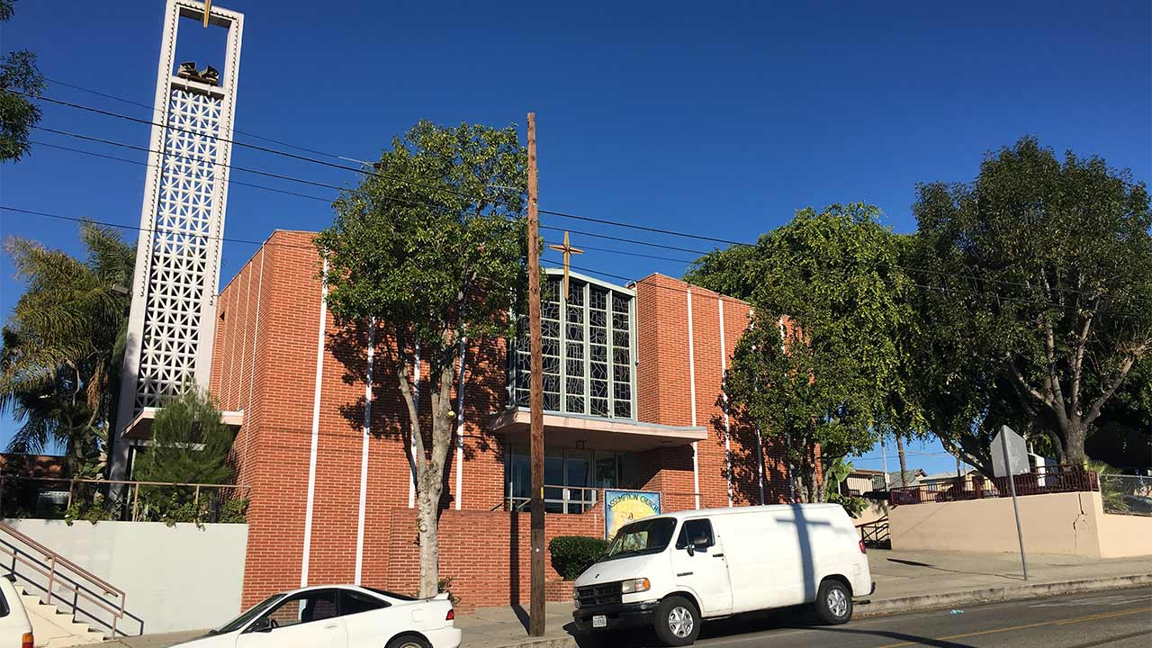 The Church of Assumption is located at 2832 Blanchard Street in the Boyle Heights neighborhood of Los Angeles.