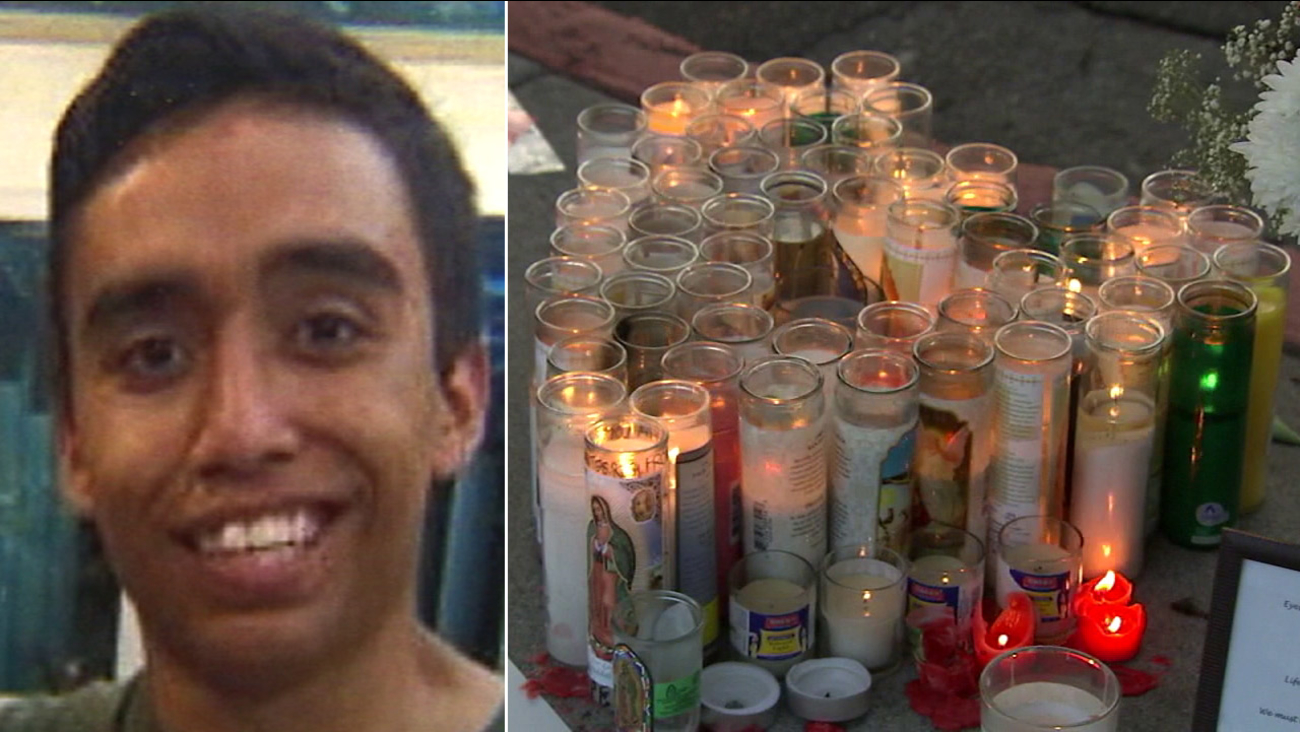 Andres Perez, 17, is shown in an undated photo alongside images of a memorial set up near the crosswalk where he died in Highland Park.