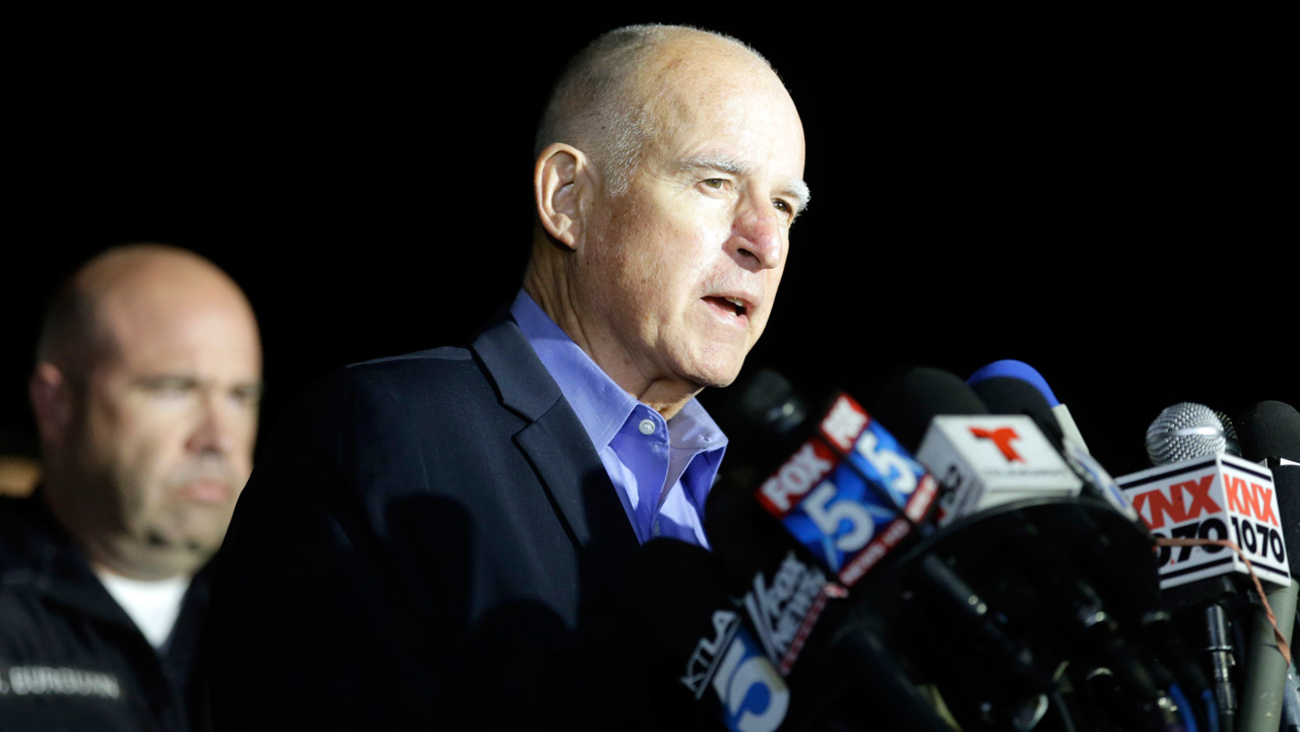 Gov. Jerry Brown reacts as he speaks during a press conference near the site of yesterday's mass shooting on Thursday, Dec. 3, 2015 in San Bernardino, Calif.