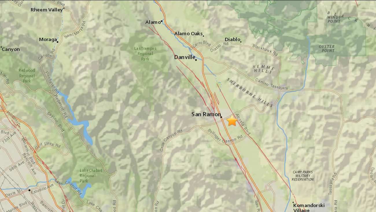 map of where magnitude 3.1 earthquake hit in San Ramon