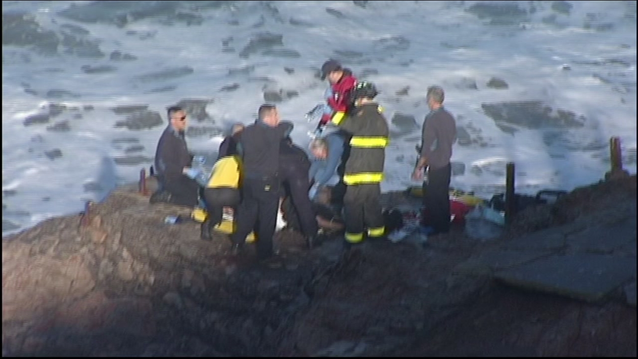 A swimmer in distress was rescued near Sutro Baths and Ocean Beach in San Francisco on Saturday, December 19, 2015.