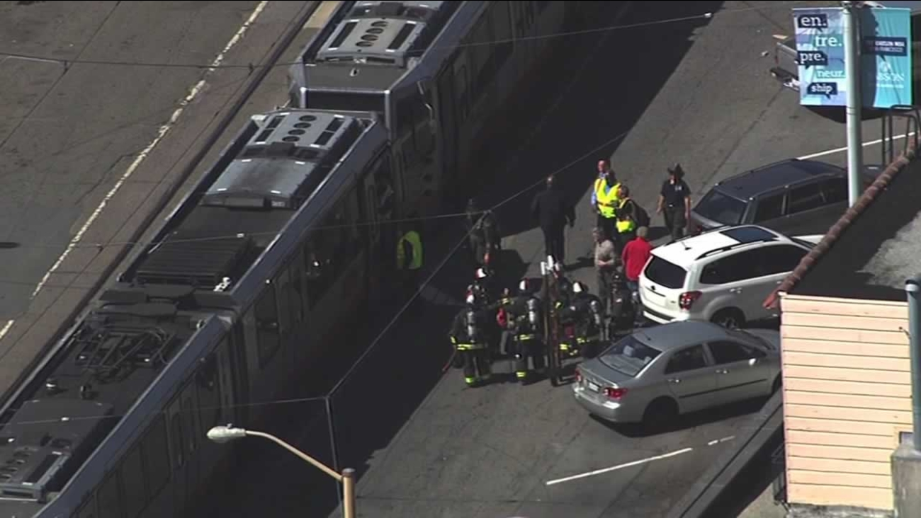 The West Portal Muni station was evacuated Friday afternoon after passengers reported a smoke-like odor coming from one of the trains.