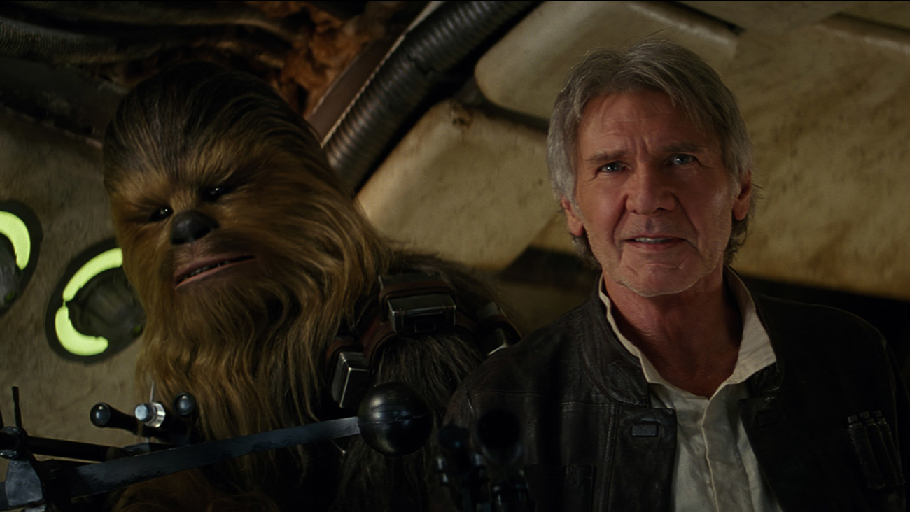 "Chewbacca and Han Solo are shown in a scene from ""Star Wars: The Force Awakens."""