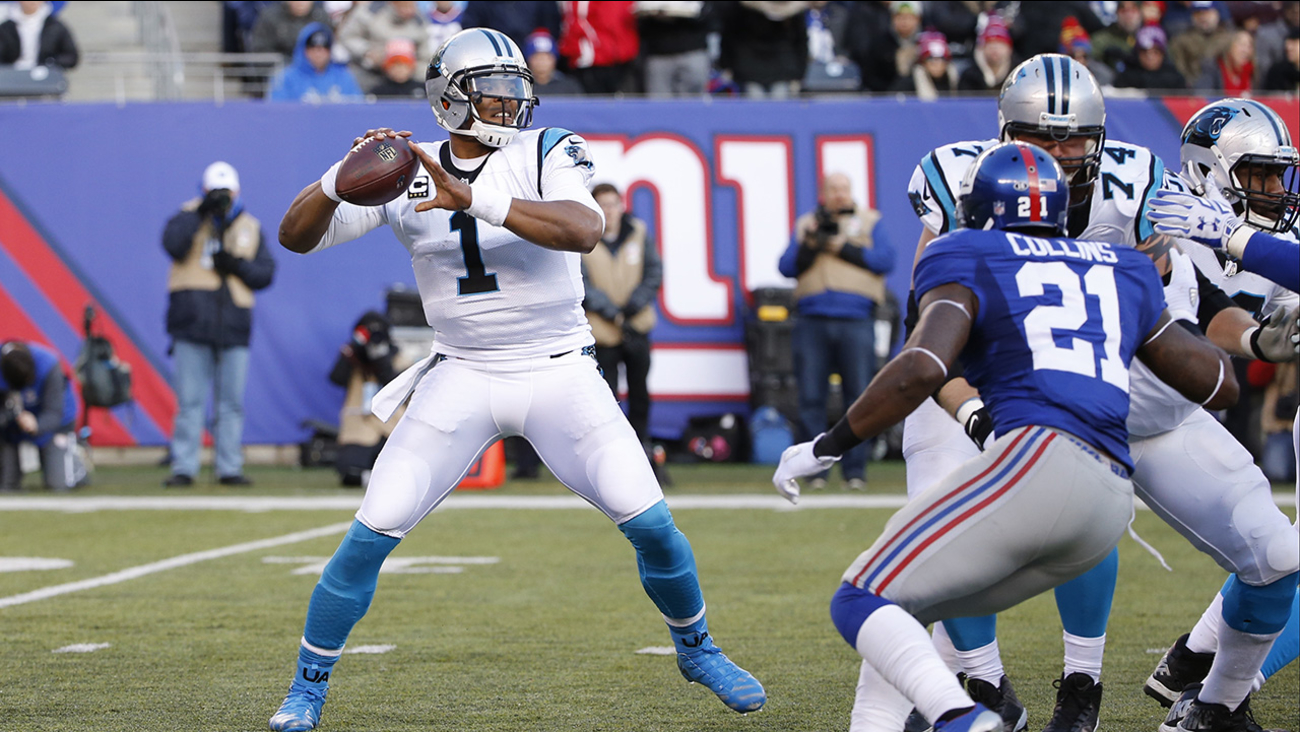 Carolina Panthers' Cam Newton (1) throws a pass during the second half of an NFL football game against the New York Giants Sunday, Dec. 20, 2015, in East Rutherford, N.J.