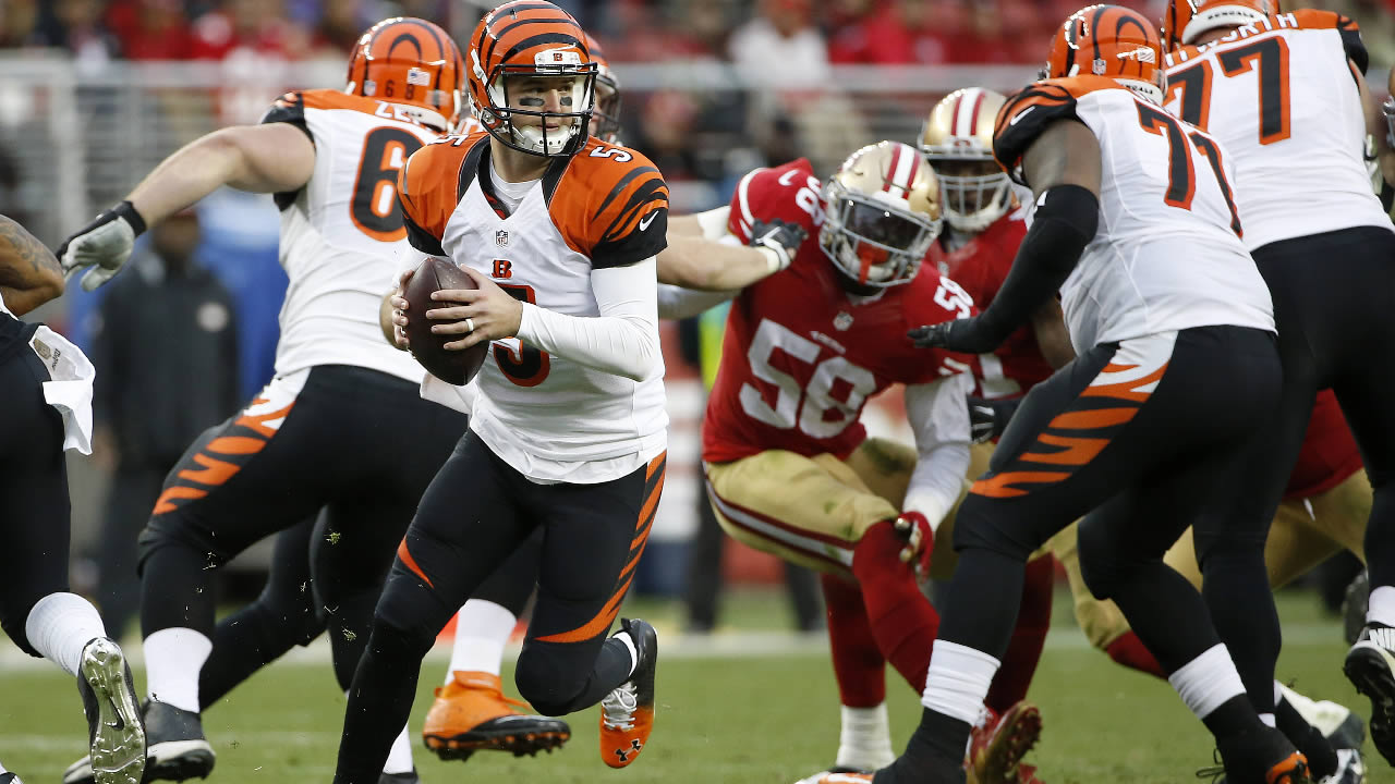 Cincinnati Bengals' AJ McCarron (5) against the San Francisco 49ers during the second half of an NFL football game in Santa Clara, Calif., Sunday, Dec. 20, 2015. (AP Photo)