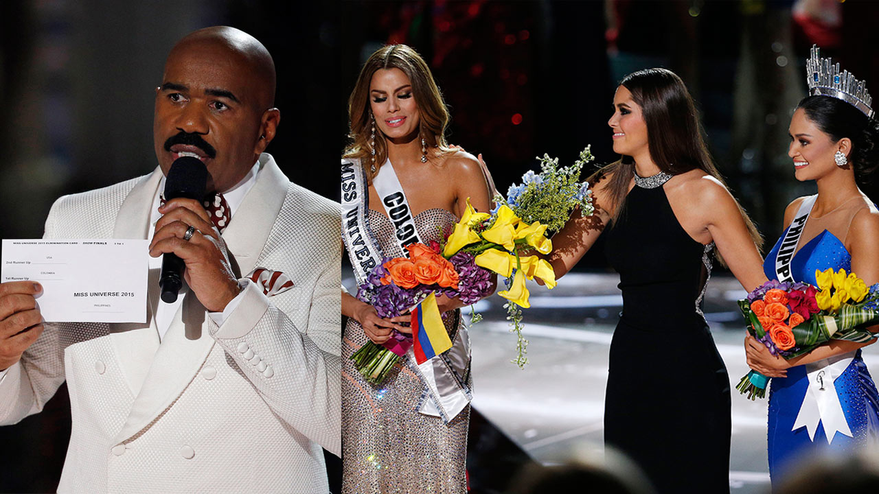 Flowers and sash are taken away from Miss Colombia Ariadna Gutierrez, left, before being given to Miss Philippines Pia Alonzo Wurtzbach, after incorrect named announced.