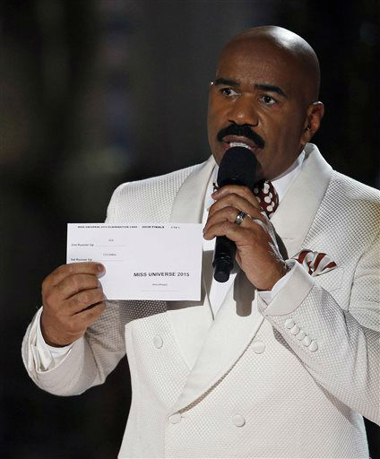 <div class='meta'><div class='origin-logo' data-origin='none'></div><span class='caption-text' data-credit='AP Photo/ John Locher'>Steve Harvey holds up the card showing the winners after he incorrectly announced Miss Colombia Ariadna Gutierrez as the winner</span></div>
