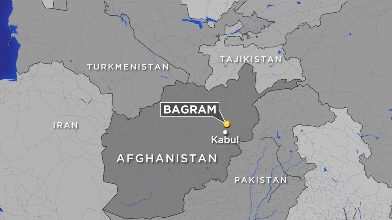 A map shows the location of Bagram Airfield in Afghanistan.