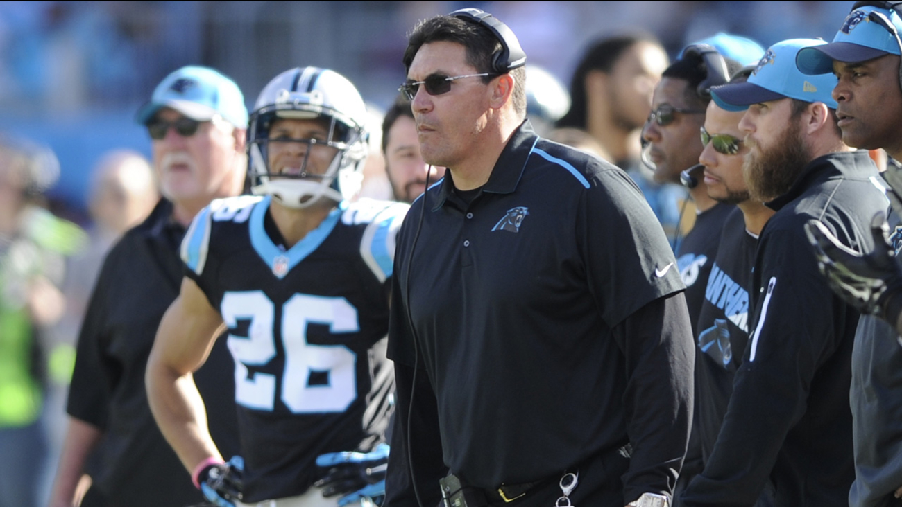 Carolina Panthers head coach Ron Rivera watches the action in the first half of an NFL football game against the Atlanta Falcons in Charlotte, N.C., Sunday, Dec. 13, 2015.