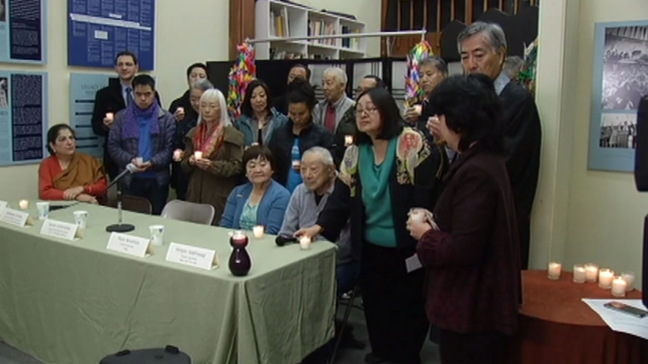Members of the Japanese community lit candles Dec. 22, 2015 at the Japanese-American Historical Society in San Francisco to show their solidarity with the Muslim community.
