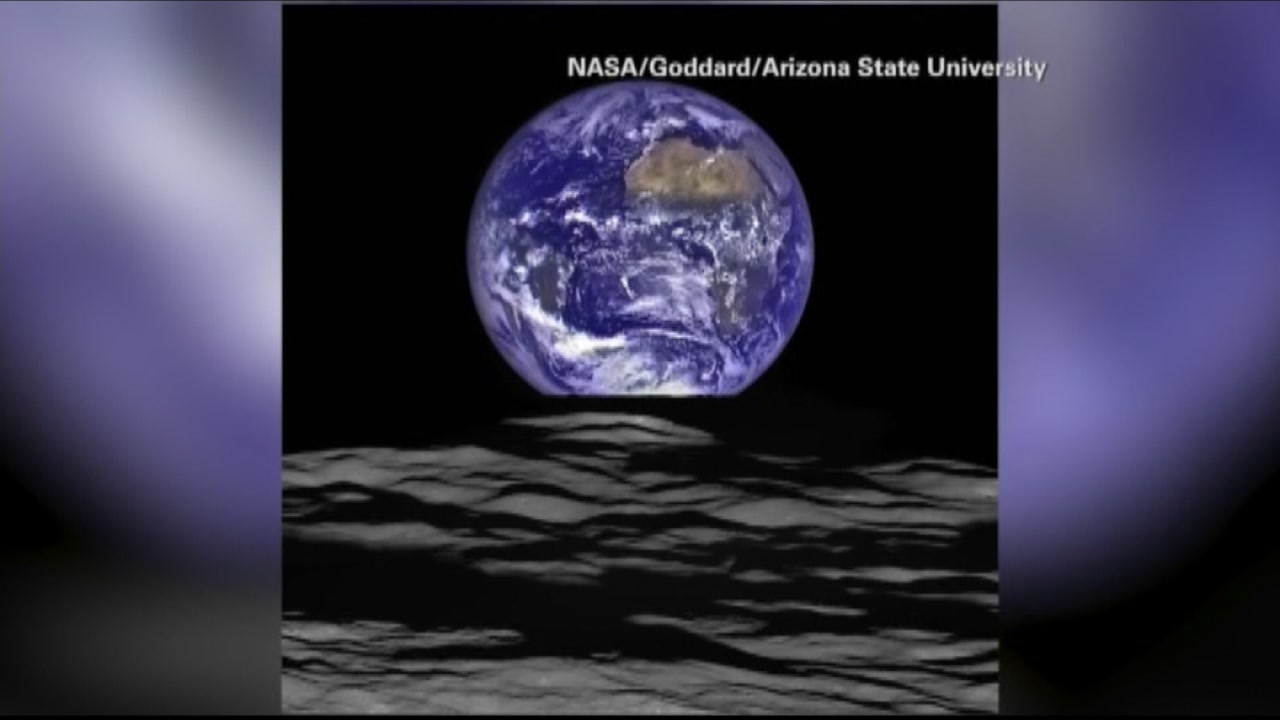 This stunning image of the Earth rising over the moon was taken by a NASA spacecraft currently orbiting the moon.