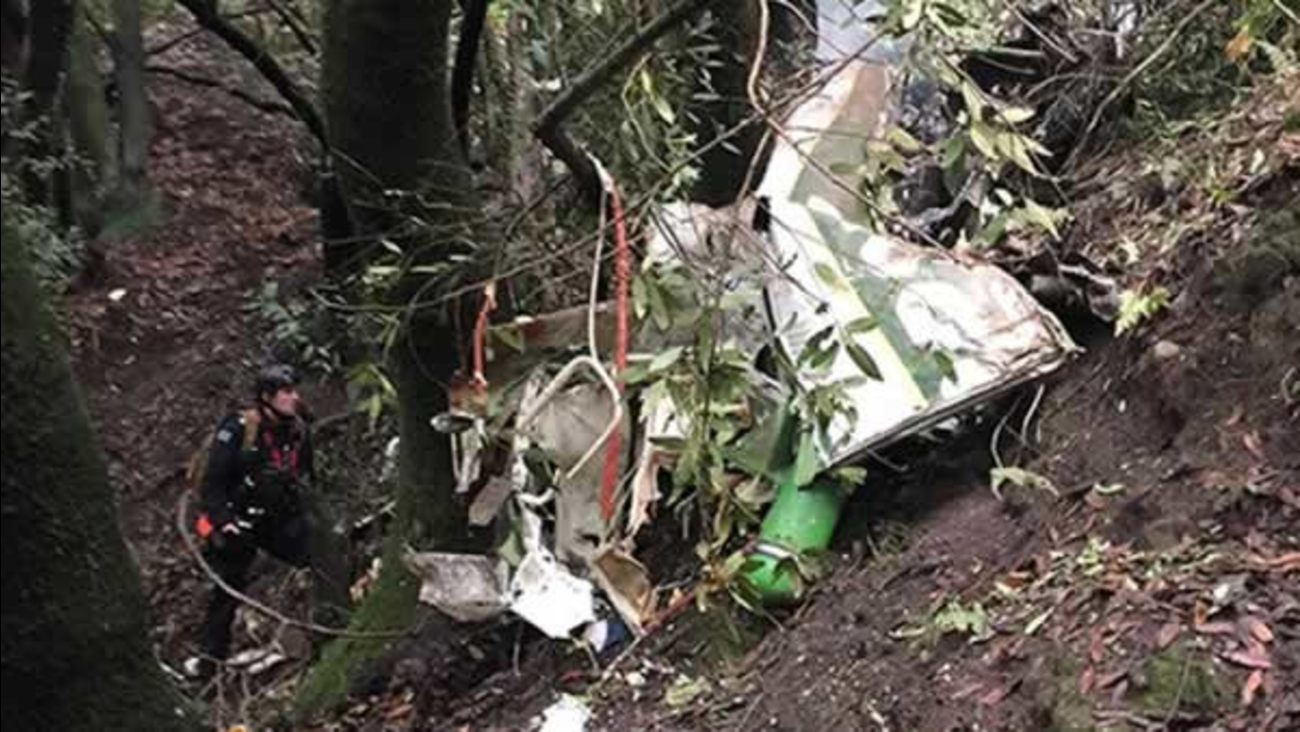 Wreckage from a small plane crash was found in Castro Valley, Calif. on Tuesday, December 22, 2015.