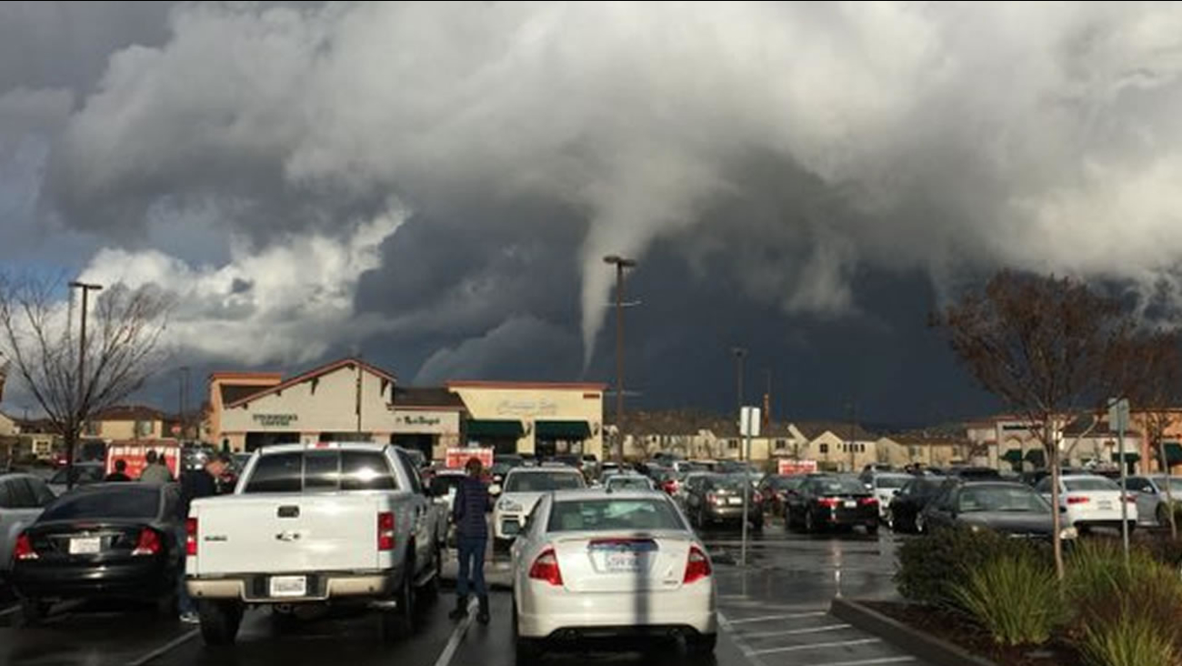 A possible funnel cloud was spotted at a Raley's parking lot in Folsom, Calif. Dec. 24, 2015.