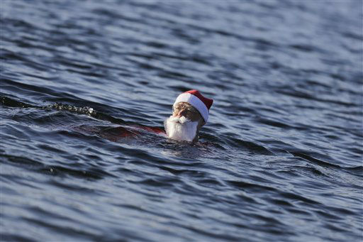 "<div class=""meta image-caption""><div class=""origin-logo origin-image none""><span>none</span></div><span class=""caption-text"">A member of the winter and ice swimming club 'Seehunde Berlin', (Berlin Seals) takes part in the annual Christmas swim,  at the Oranke Lake in Berlin. (AP Photo/ Markus Schreiber)</span></div>"