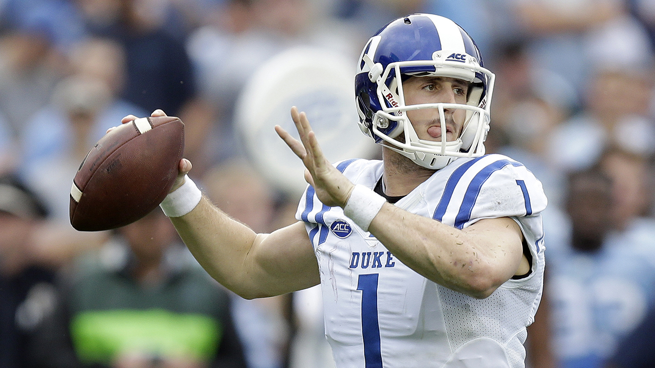 Duke quarterback Thomas Sirk (1) looks to pass against North Carolina during the first half of an NCAA college football game in Chapel Hill, N.C., Saturday, Nov. 7, 2015.