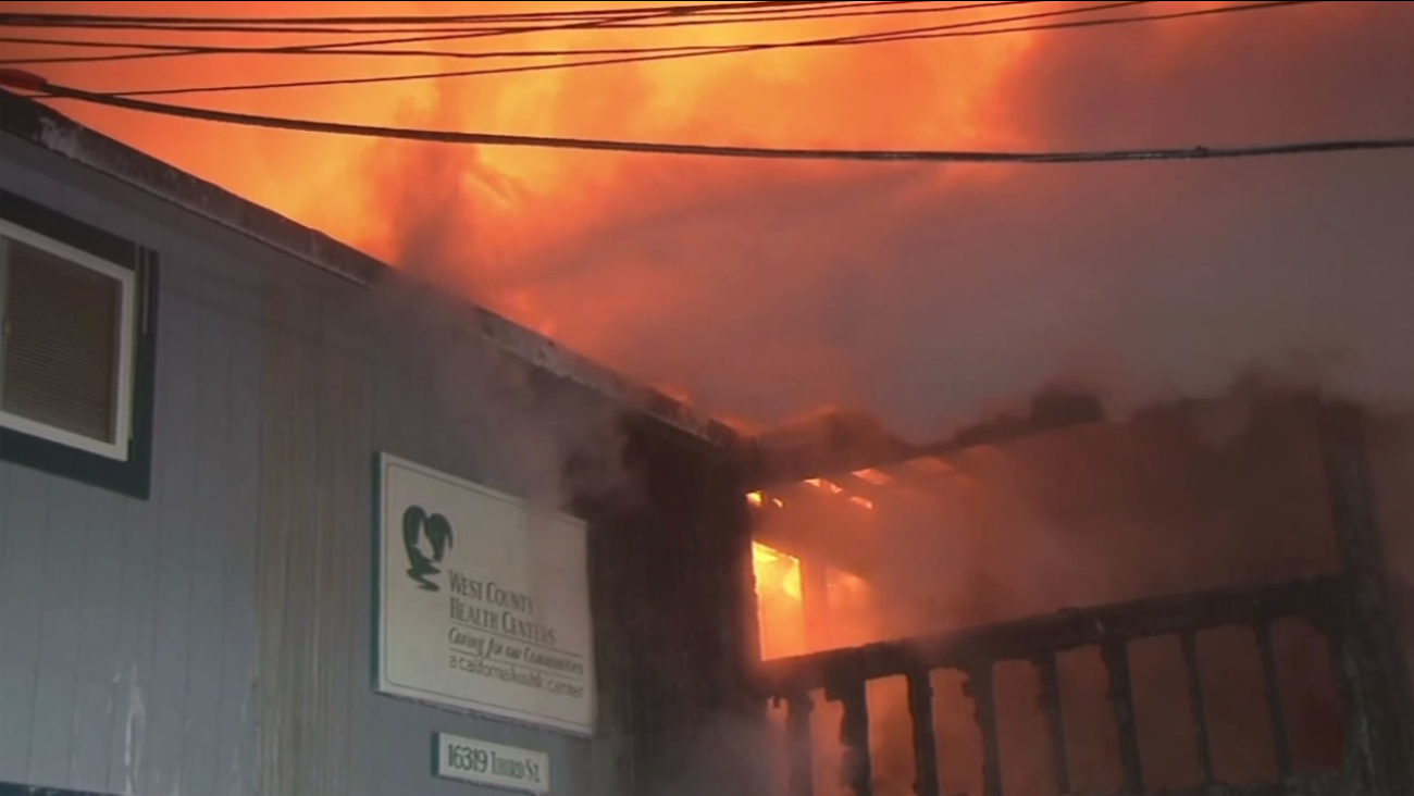 A fire ripped through Russian River Health Center in Guerneville, Calif. on Saturday, Dec. 26, 2015.