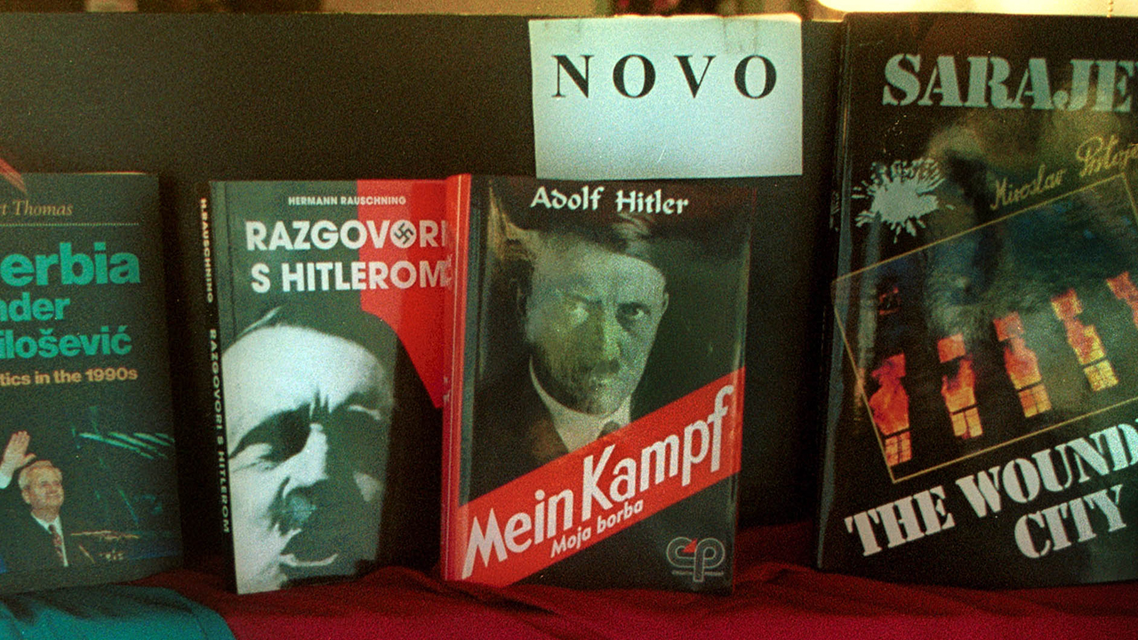 "In this Dec. 8, 1999 file photo a book store displays Adolf Hitler's ""Mein Kampf"", and another book about Hitler entitled ""Talks with Hitler"" in downtown Sarajevo, Bosnia"