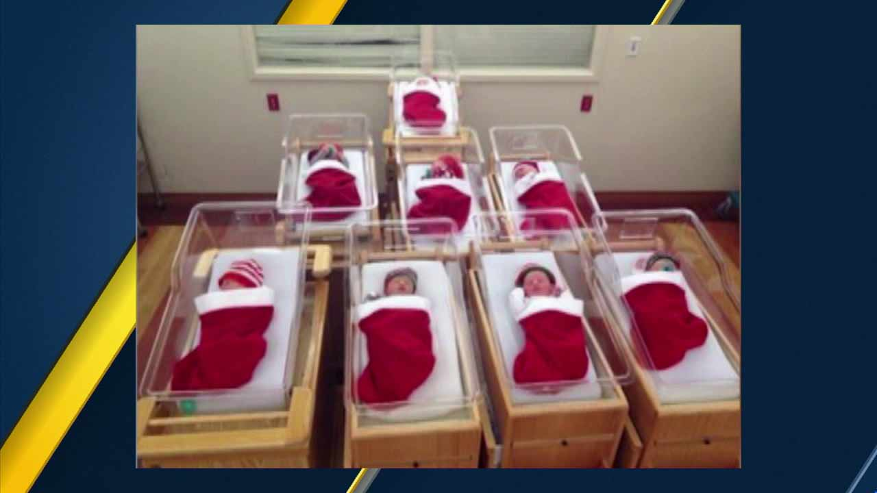 Babies born around Christmas time sleeping peacefully in stockings at a children's hospital in Pittsburgh on Friday, Dec. 25, 2015.