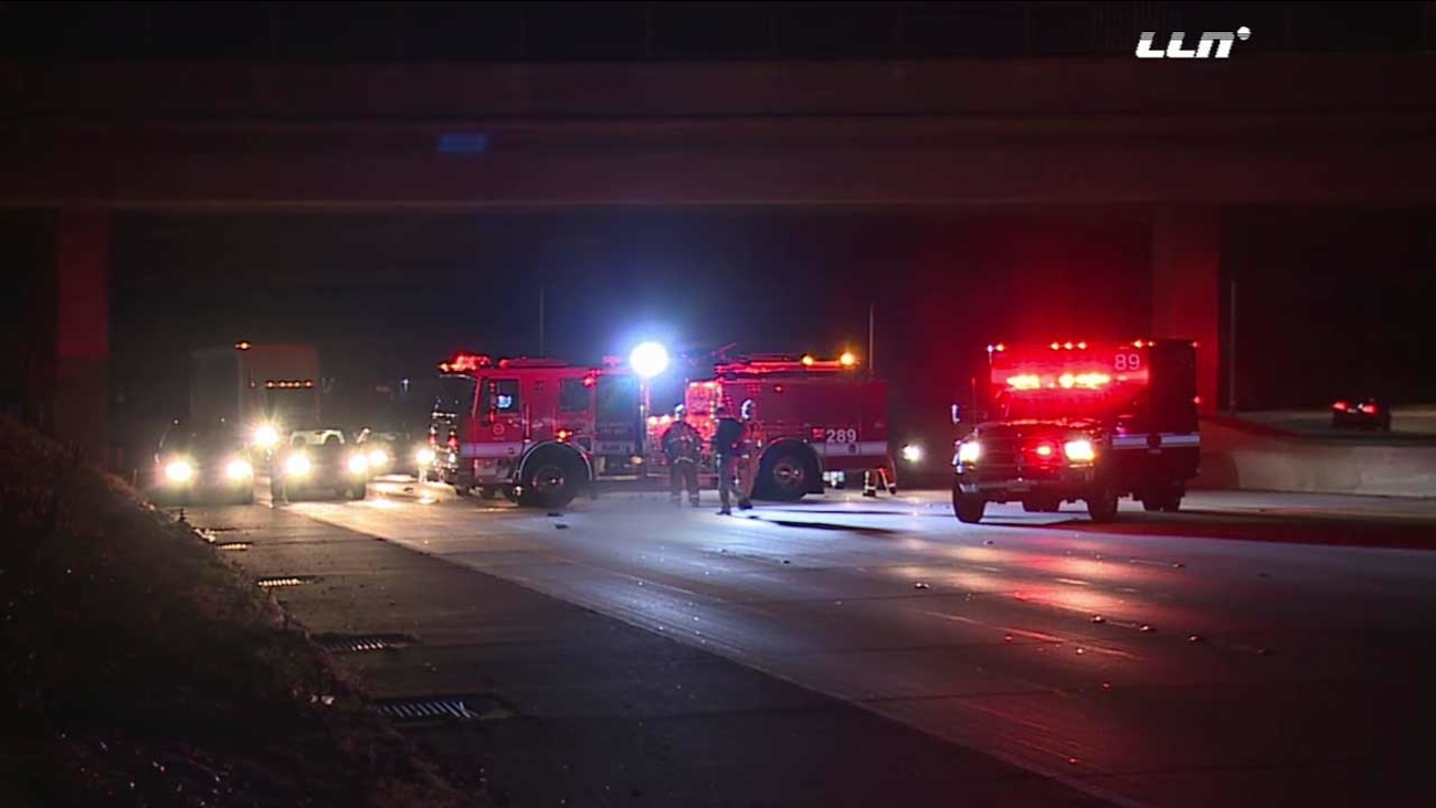 Authorities respond to a fatal collision on the southbound 170 Freeway at Sherman Way in North Hollywood on Monday, Dec. 28, 2015.