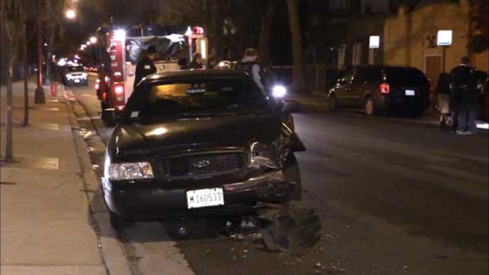 SUV Crosses Median, Hits Chicago Police Car In Humboldt