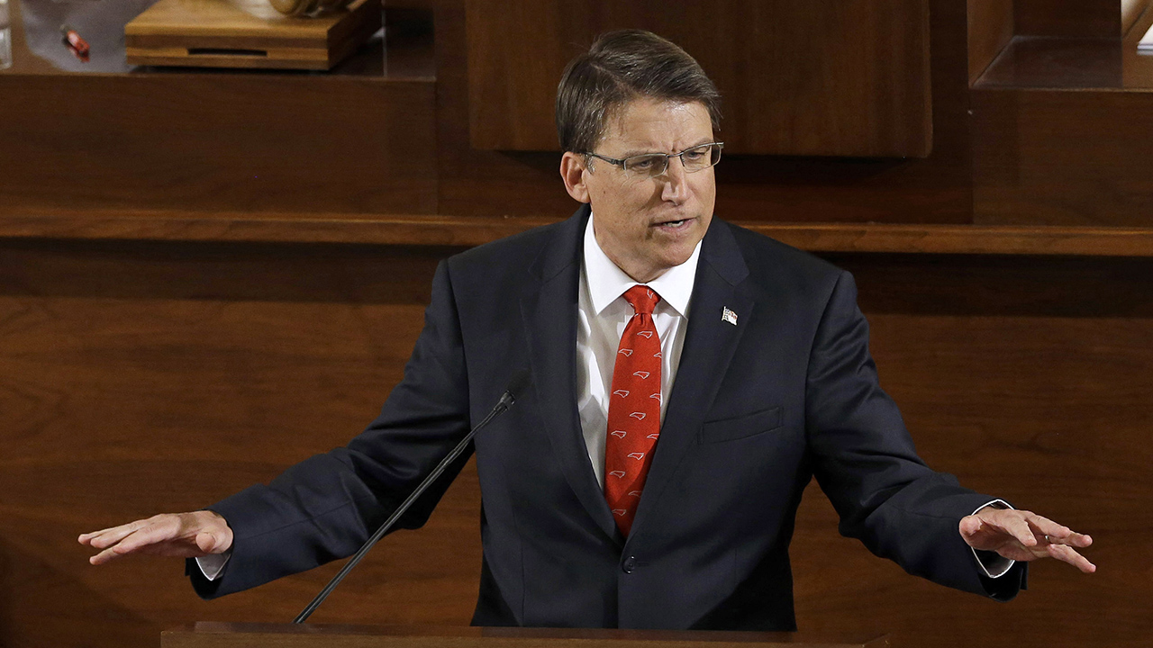 In this Feb. 4, 2015 file photo, Gov. Pat McCrory delivers his State of the State address to a joint session of the General Assembly in Raleigh, N.C.